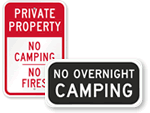 No Camping Allowed Signs - No Camping Signs
