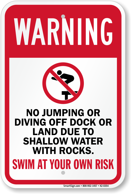 Aluminum Metal 6 Pack Shallow Water Swimming Injury Signs No Diving In Pool Sign