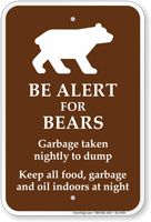 Be Alert For Bears Campground Sign