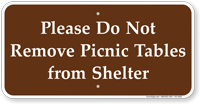 Do Not Remove Picnic Tables Campground Sign
