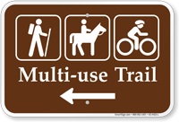 Multi Use Trail Left Arrow Campground Sign