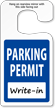 Jumbo Parking Permit Hang Tags, Blue, No Numbering