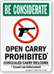 Be Considerate Guns Welcome Sign